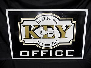 Vintage Key Real Estate Services Office Tin Sign 36 X 24 Original