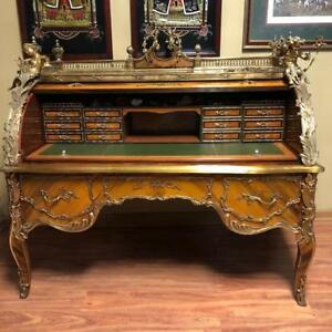 20th Century Repro Of 18th Century French Cylinder Palace Desk Wood Bronze