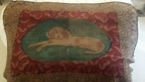 Antique Carriage Wool Blanket Red Green And Brown Shades Dog Laying Down