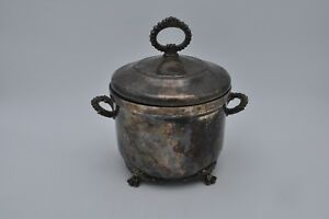 W S Blackinton Silverplate Footed Ice Bucket Ornate Handles Cover Glass Liner