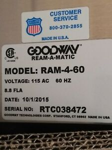 Goodway Ram 4 60 Ream a matic High Flow Chiller Tube Cleaner New 2015 W Cart