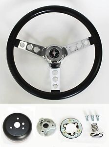 New 1965 1969 Mustang Black Steering Wheel 14 1 2 With Chrome Spokes