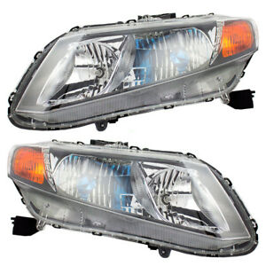 Fits Honda Civic Hybrid 2012 Set Of Halogen Combination Headlights Headlamps