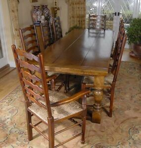 Refectory Table Dining Set Ladderback Kitchen Chairs