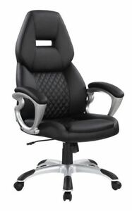 Black Leatherette Upholstered Office Chair W Quilted Back Silver Base 801296