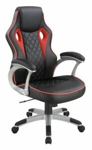 Black And Red Leatherette Upholstered Office Chair With Silver Base 801497