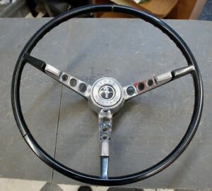 1965 1966 Ford Mustang Black Steering Wheel And Horn Ring Original Used