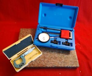 Mitutoyo Outside Micrometer 0 1 0001 W Central Tools 0 1 Dial Indicator Set