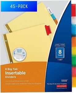 Avery Big Tab Insertable Dividers Buff Paper 8 Multicolor Tabs 45 pack