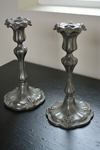 Early Pair Rococo Revival Candlesticks Floral Fluted Design Pewter