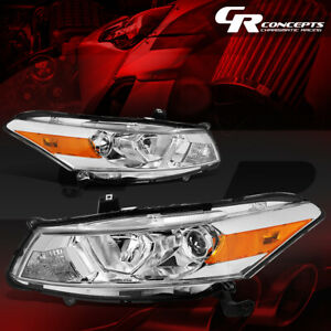 Pair Projector Headlight Lamp For 08 12 Honda Accord 2 door Coupe Chrome amber
