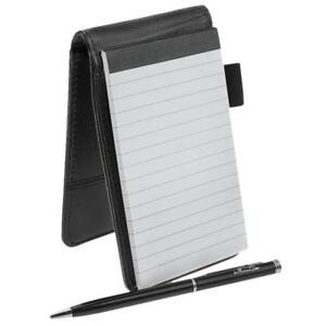 Small Pocket Pu Leather Business Notebook Lined Memo Pad Holder Jotter Book Sten