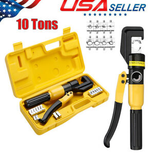 10 Ton Hydraulic Wire Terminal Crimper Battery Cable Lug Crimping Tool Dies case