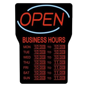 Sign Open Closed Business Hours Led Plastic Flashing Indoor 15 In X 24 In