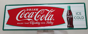 Large 54 Coca Cola Fishtail Vintage Style Embossed Signs Man Cave Bottle Usa