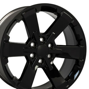 22x9 Wheel Fits Chevy Sierra Silverado Ls Lt Rally Ck162 Gloss Black 5662 Set