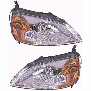 Halogen Headlight Set For 2001 2003 Honda Civic Coupe Models Left