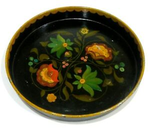 Antique Floral Flower Tole Painted Black Metal Round Serving Tray Ees 1946