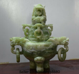 8 Exquisite China Natural Xiu Jade Jasper Carved Dragon Incense Burner Censer