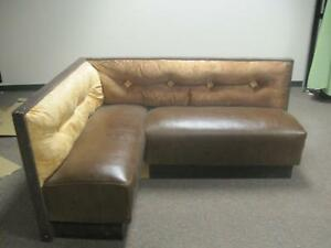 Restaurant Bench Lounge Brown Leather L sectional Cushion Seat Set Booth Waiting