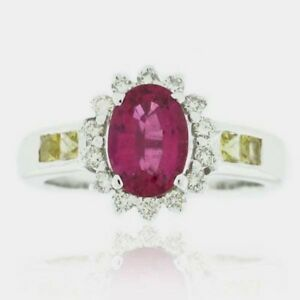 Suzy Levian 18k White Gold Pink Ceylon Sapphire And Diamond Ring Size 8