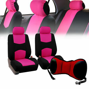 Front Bucket Seat Covers Pink With Seat Back Cushion Pad Red For Auto Suv Van