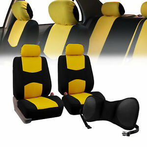 Front Bucket Seat Covers Yellow With Seat Back Cushion Pad Black For Auto Suv