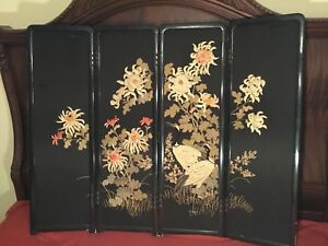 Antique Early 20th Meiji Japanese Embroidered Painted Screen Embroidery Chinese