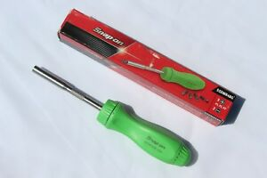 Snap On Tools Screwdriver Green Hard Handle Ratcheting With 5 Bit Tips Brand New