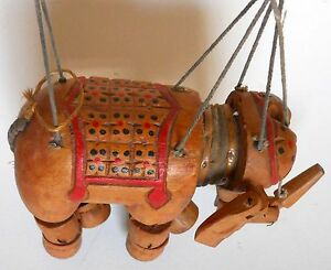 Antique India Indian Wood Wooden Elephant Hand Carved Marionette Puppet
