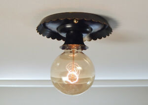 Black Scalloped Vintage Flush Mount Ceiling Light With Brass Highlights