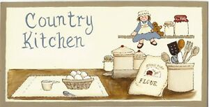 Country Kitchen Vintage Cooking Items Primitive Wall Art Home Decor Wood Sign