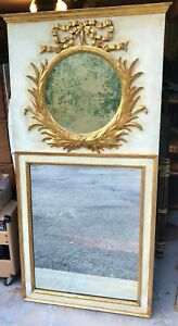 Antique Italian Louis Xvi Large Trumeau Mirror Gold Leaf Cream W Bow Wreath