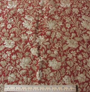 Antique C1870 French Cotton Jacquard Woven Red Tan Floral Tapestry Fabric