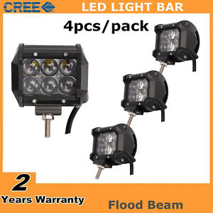 4x 4 Inch 18w Cree Flood Pod Lights Led Work Light Off Road Suv Atv Jeep 4d Lens