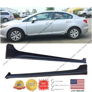 Mod Style Unpainted Black Side Body Skirts For 2012 15 Honda Civic Sedan 4 Door