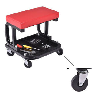 Garage 300lbs Mechanics Creeper Seat Auto Rolling Work Stool Storage Chair Tray