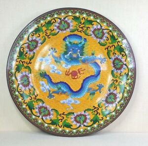 Antique Chinese Cloisonne Enamel Plate 19th Century