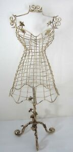 Metal Dress Form Mini Female Mannequin Decorative Stand Shabby French Country
