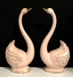 Rare Pair Mid Century Modern Pink Gold Decorative Swans Mint 11 1 2 Tall 6