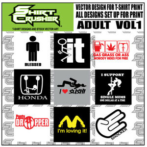 Adult Vol 1 Funny Adult T shirt Designs Print Ready Clipart Svg Eps Dxf Ai Png