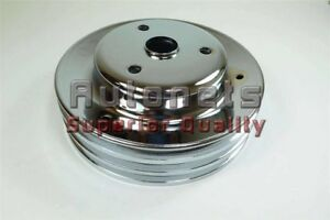 Chrome Steel Small Block Chevy Crankshaft Pulley 3 Triple Groove Long Water Pump