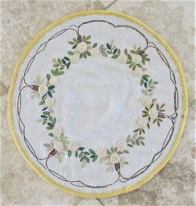 Vintage Mission Arts Crafts Embroidered Linen Round Table Cover 24 5 Diameter