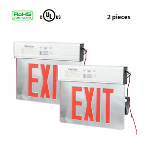 2pc Led Emergency Exit Light Sign Acrylic Panel Indoor Sign With Battery Backup