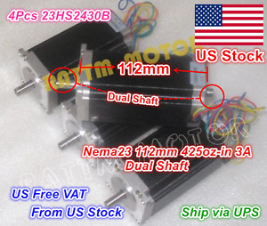 us Stock 4pcs Nema 23 112mm Stepper Motor Dual Shaft 425oz in 3a For Cnc Router