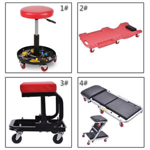 Mechanic Creeper Seat Rolling Work Stool Auto Repair Adjustable Garage Tool