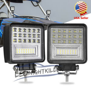 2x126w Square Led Work Light Flood Drive Bar Lamp Offroad Truck Tractor Boat 12v