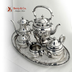 Ornate 6 Piece Tea Coffee Set And Kettle Sterling Silver Shreve And Co 1895 1910
