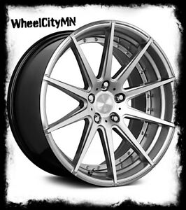 20x9 20x11 Staggered Hyper Silver Verde V20 Wheels Fits 1994 2004 Mustang 5x4 5