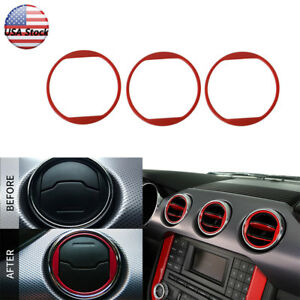 3pcs Car Interior Air Condition Vent Trim Frame Cover For Ford Mustang 2015 2017